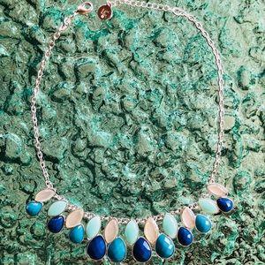 Liz Claiborne Blue Teardrop Statement Necklace